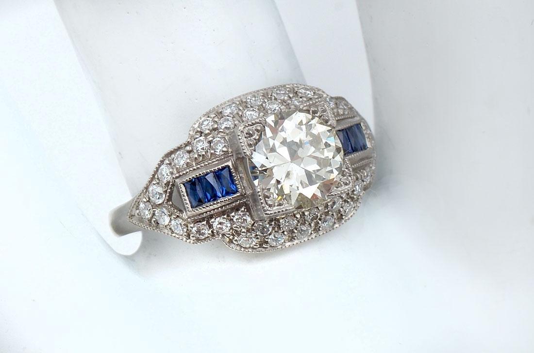 PLATINUM EDWARDIAN SAPPHIRE & DIAMOND RING
