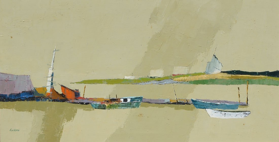 MODERNIST NANTUCKET HARBOR PAINTING BY HICKEN
