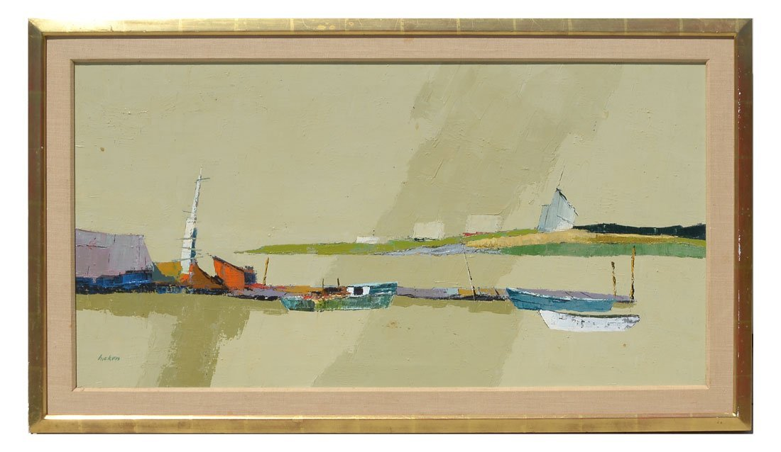 MODERNIST NANTUCKET HARBOR PAINTING BY HICKEN - 2