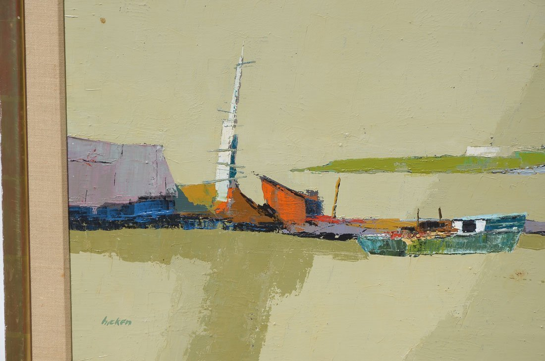MODERNIST NANTUCKET HARBOR PAINTING BY HICKEN - 3