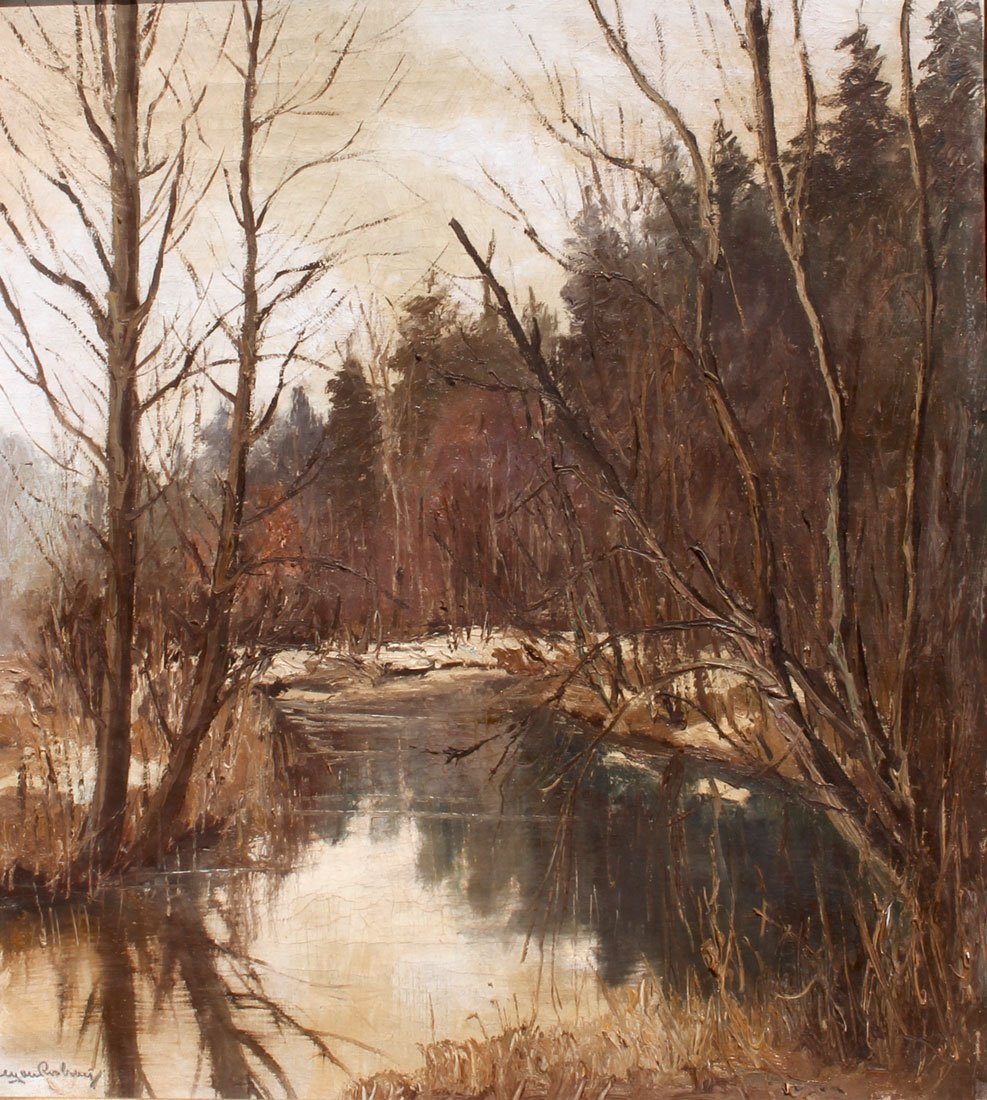 ILLEGIBLY SIGNED IMPRESSIONIST WINTER STREAM PAINTING