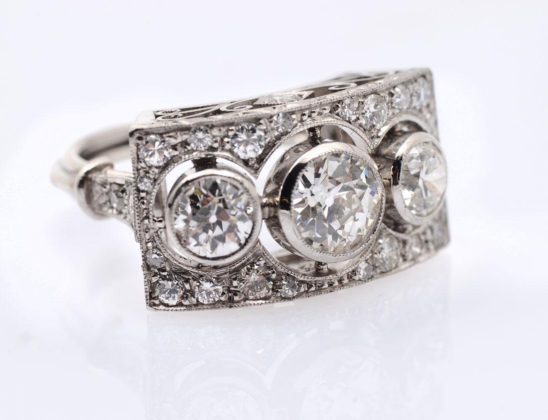 PLATINUM 3 STONE DIAMOND EDWARDIAN RING