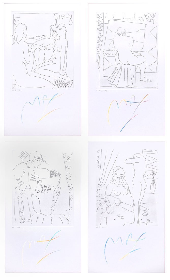 FOUR PETER MAX ETCHINGS HOMAGE TO PICASSO