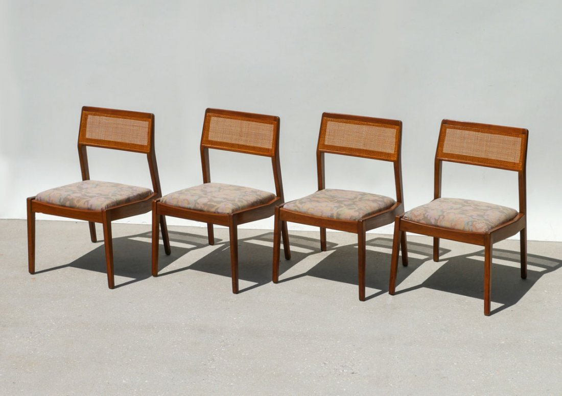 4 MID CENTURY HARVEY PROBBER CANE BACK DINING CHAIRS