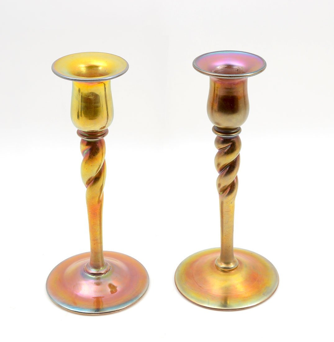 PAIR OF STEUBEN CARDER ERA AURENE TWIST CANDLESTICKS