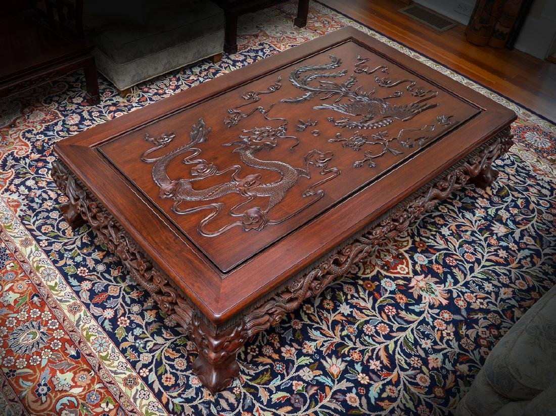 LARGE CARVED & PIERCED CHINESE ROSEWOOD COFFEE TABLE