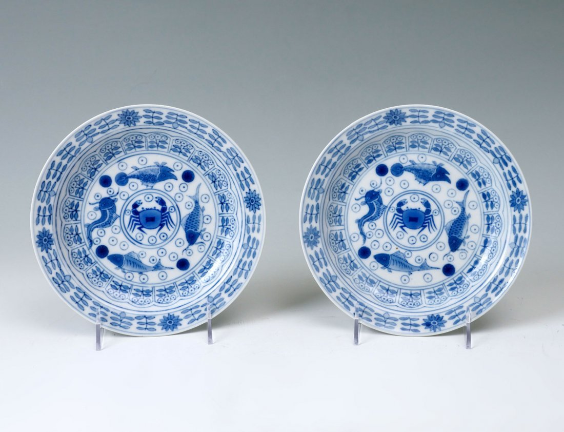 PAIR OF QING DYNASTY BUDDHIST PLATES IN BOX