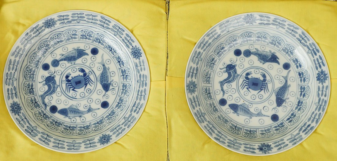 PAIR OF QING DYNASTY BUDDHIST PLATES IN BOX - 2
