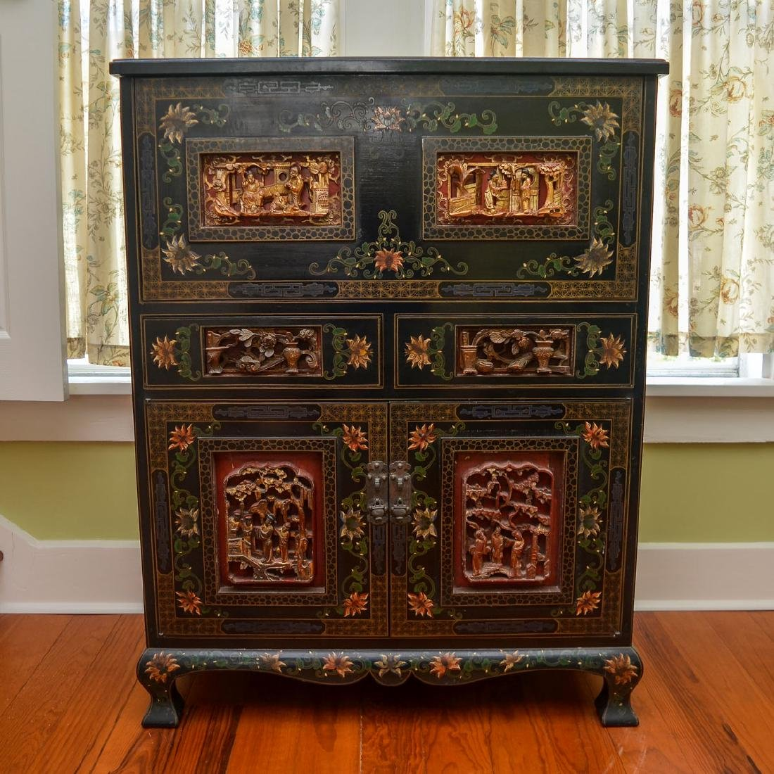 CHINESE BLACK LACQUERED DROP FRONT BAR CABINET