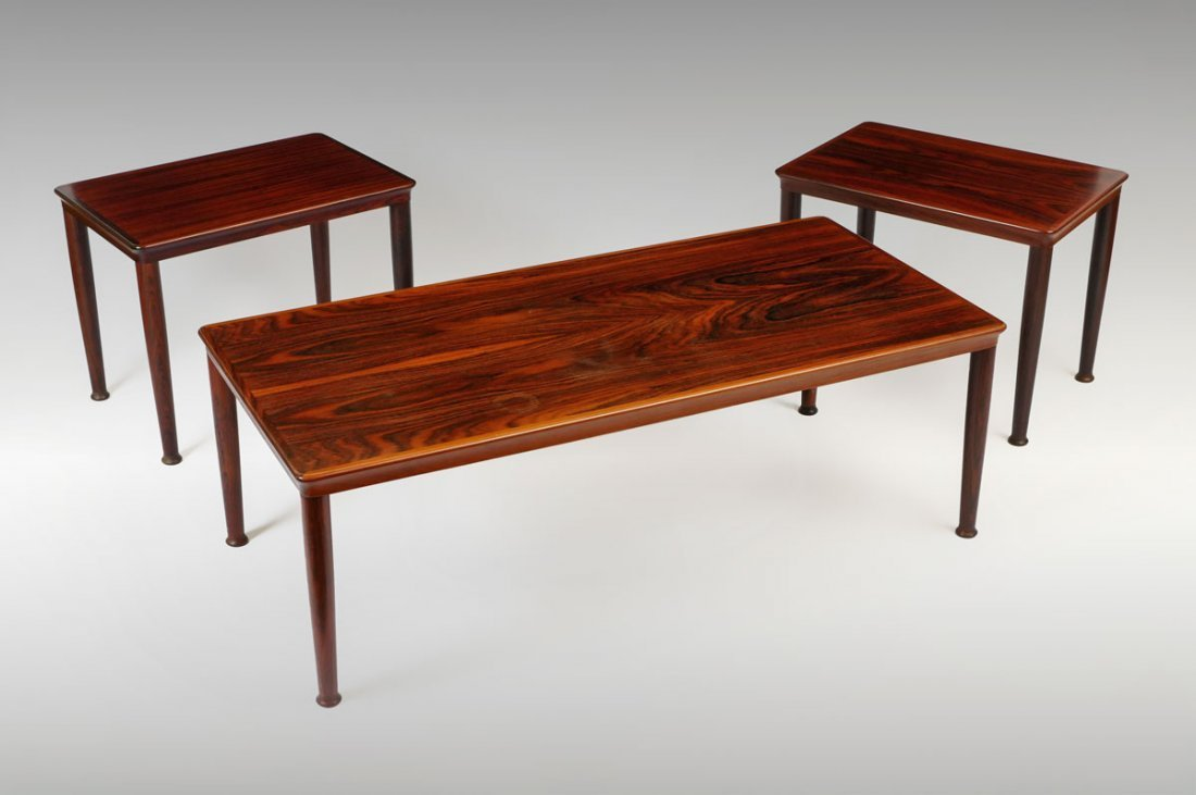 3 PC. MID CENTURY DANISH ROSEWOOD MATCHSTICK TABLE