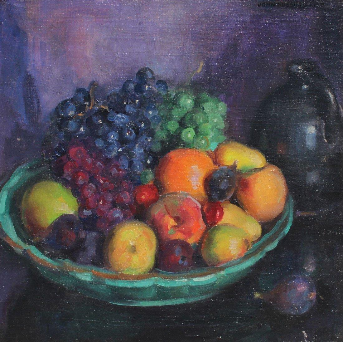 JOHN HUBBARD RICH STILL LIFE PAINTING OF FRUIT