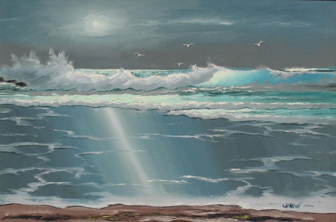 S NEWTON FLORIDA HIGHWAYMEN PAINTING BREAKING WAVE