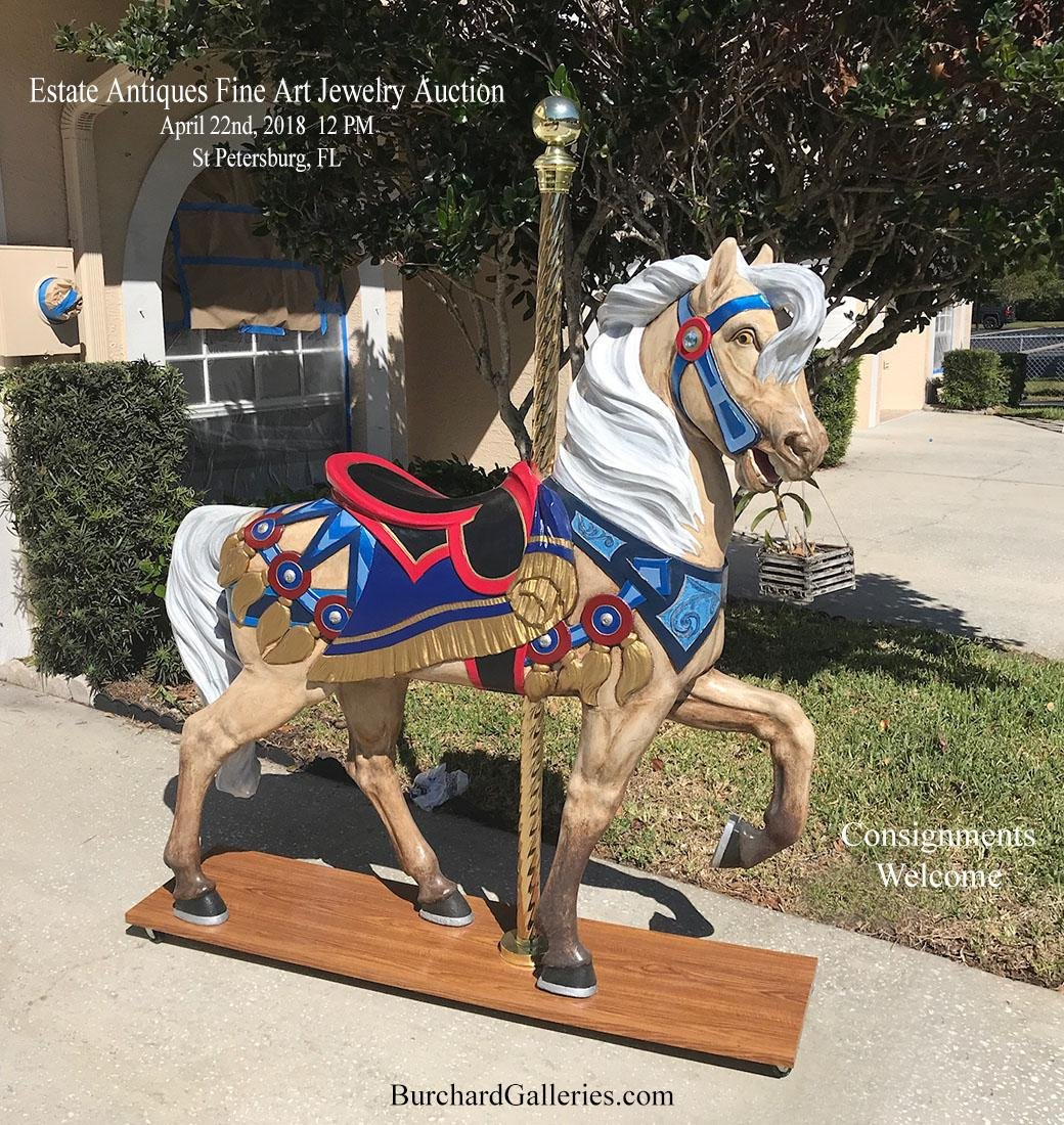 LARGE HAND PAINTED FIBERGLASS HORSE ON STAND