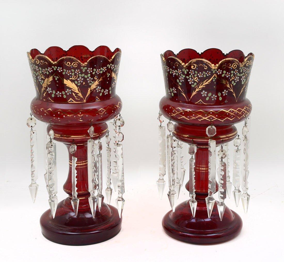 PAIR OF RUBY RED BOHEMIAN MANTLE LUSTERS