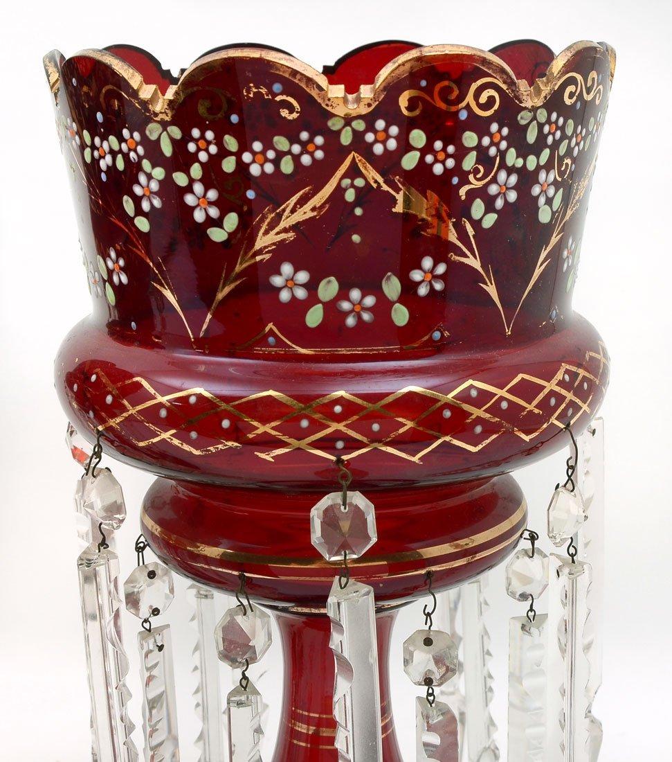 PAIR OF RUBY RED BOHEMIAN MANTLE LUSTERS - 2