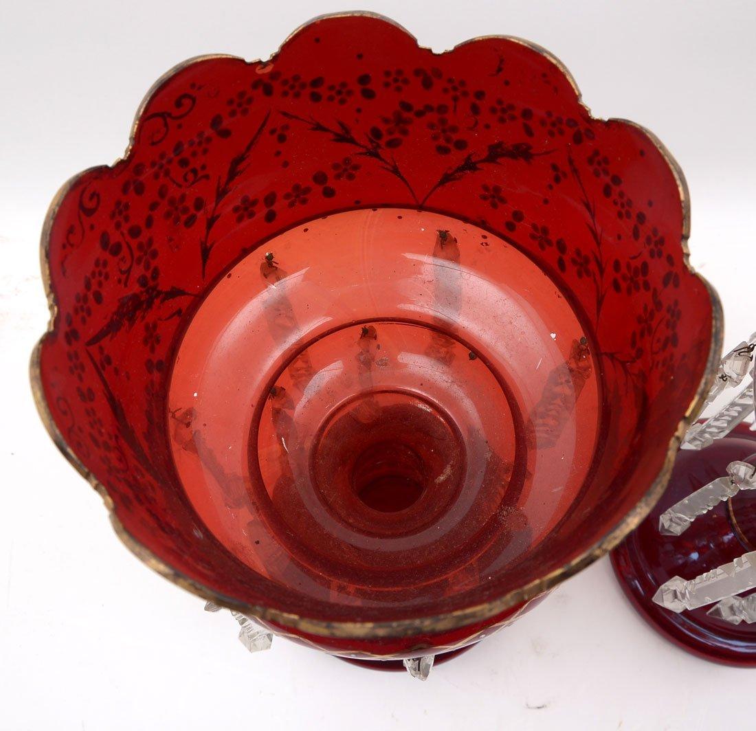 PAIR OF RUBY RED BOHEMIAN MANTLE LUSTERS - 5