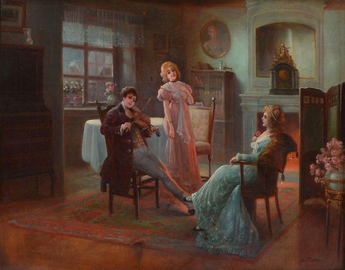 19TH CENTURY GENRE VIOLIN SERENADE PAINTING