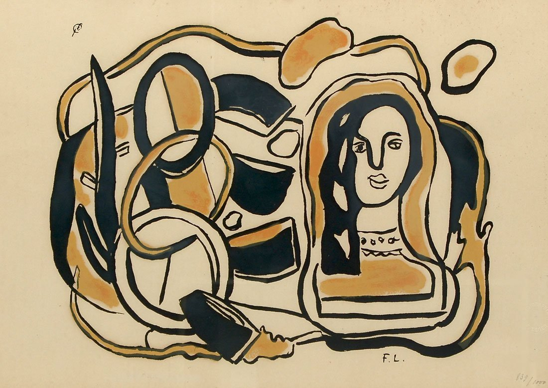 LEGER ABSTRACT SCREEN PRINT WITH WOMAN'S HEAD