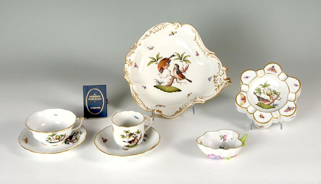 ANTIQUE 8 PIECE HEREND ROTHSCHILD BIRD PORCELAIN