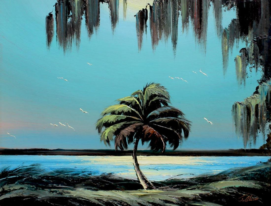 J GIBSON FLORIDA HIGHWAYMEN RIVER PALM PAINTING