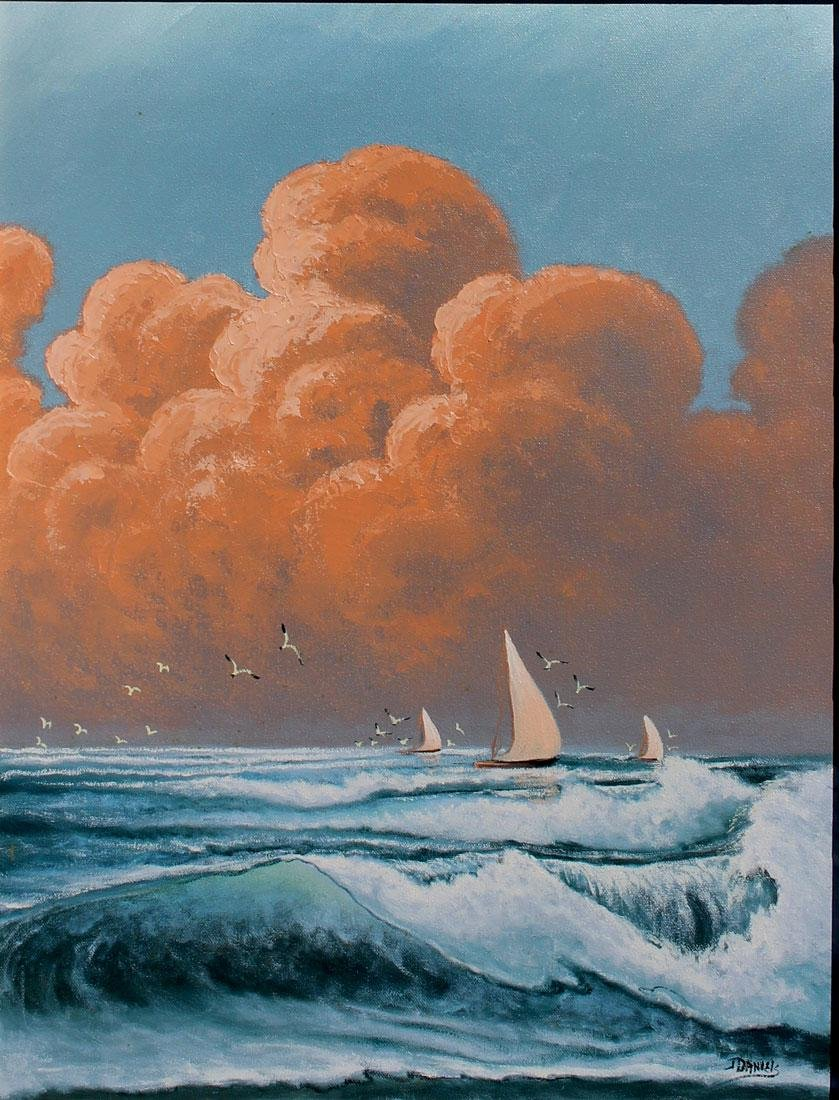 JOHNNY DANIELS PAINTING WITH SAILBOATS