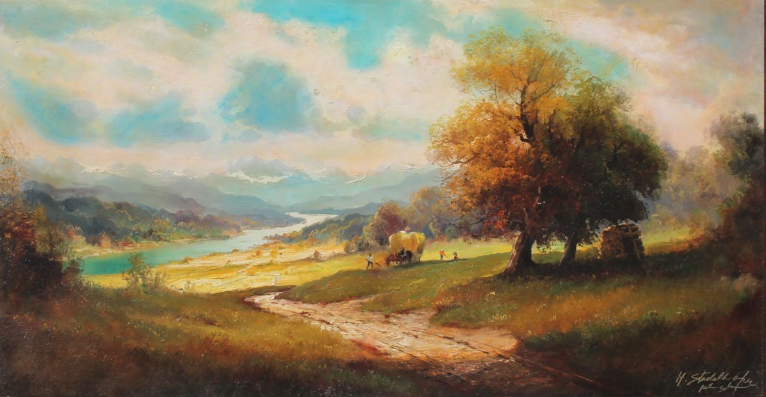 STADELHOFER PANORAMIC RIVER VALLEY PAINTING