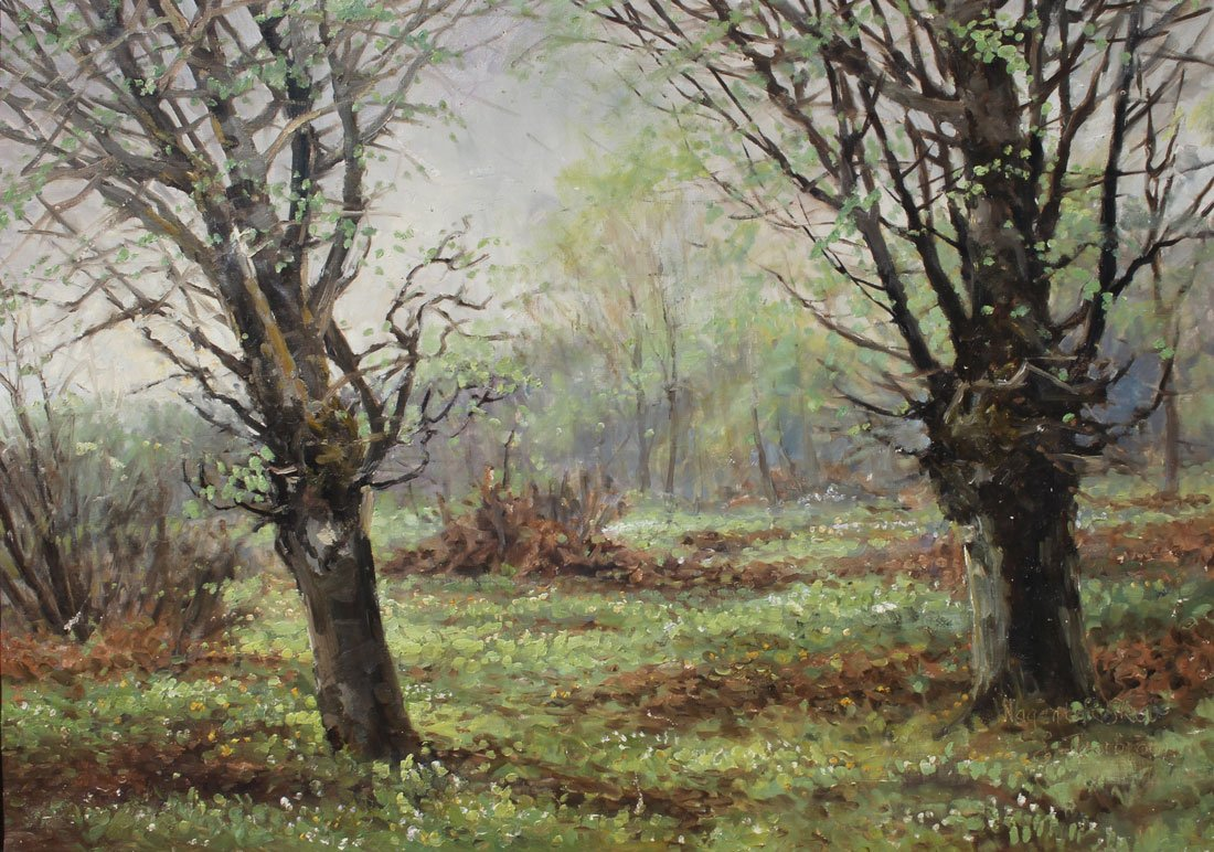 E. B. THORBJORN FOREST LANDSCAPE PAINTING