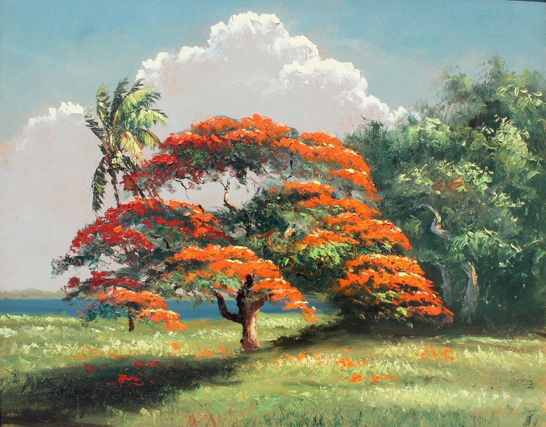 EXHIBITED NEWTON POINCIANA HIGHWAYMEN PAINTING