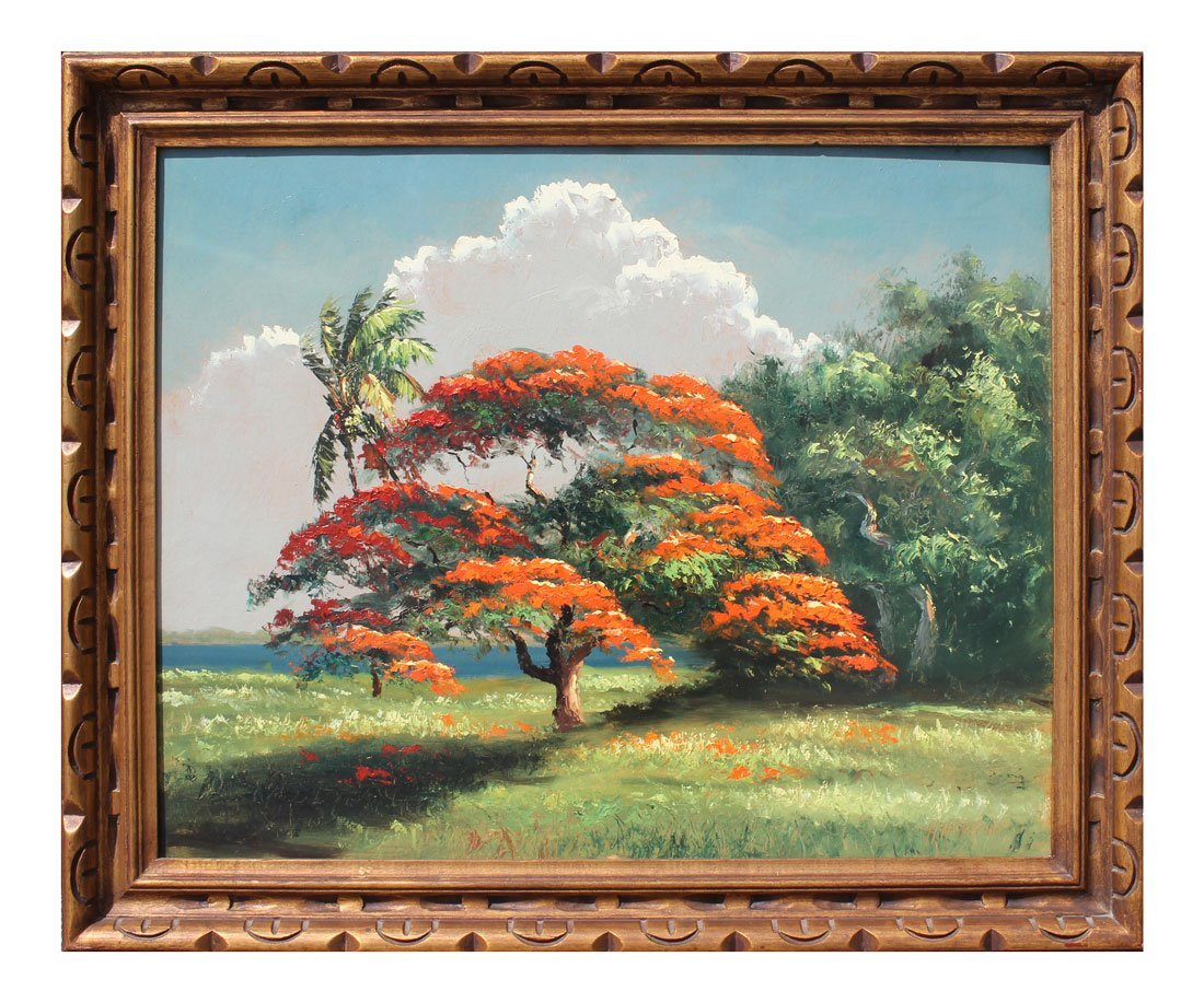EXHIBITED NEWTON POINCIANA HIGHWAYMEN PAINTING - 2