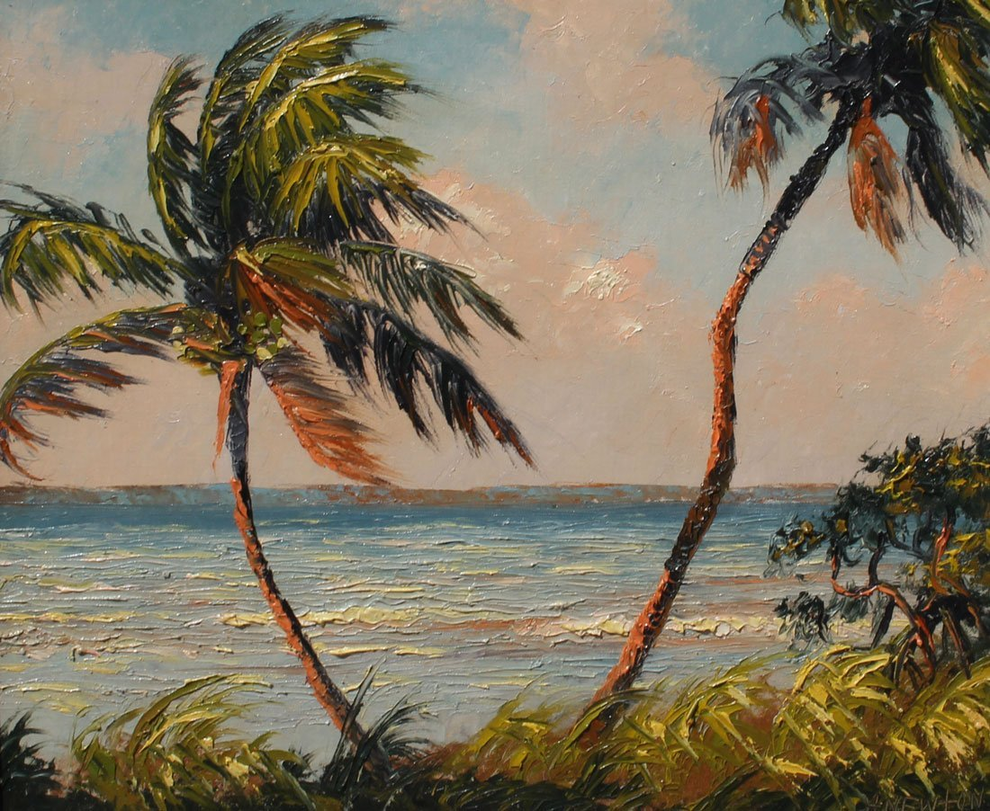 EARLY EXHIBITED NEWTON FLORIDA HIGHWAYMEN PAINTING