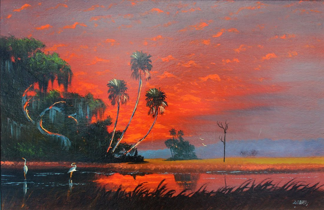 EXHIBITED ROBERTS FLORIDA HIGHWAYMEN PAINTING