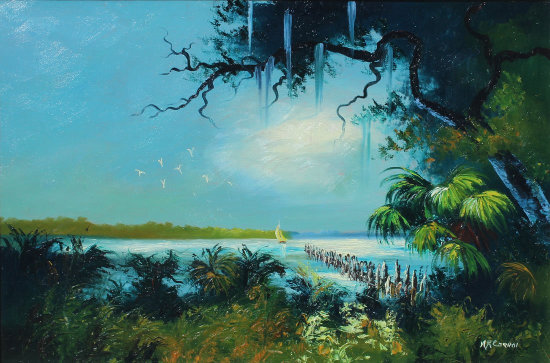EXHIBITED MARY ANN CARROLL HIGHWAYMEN PAINTING