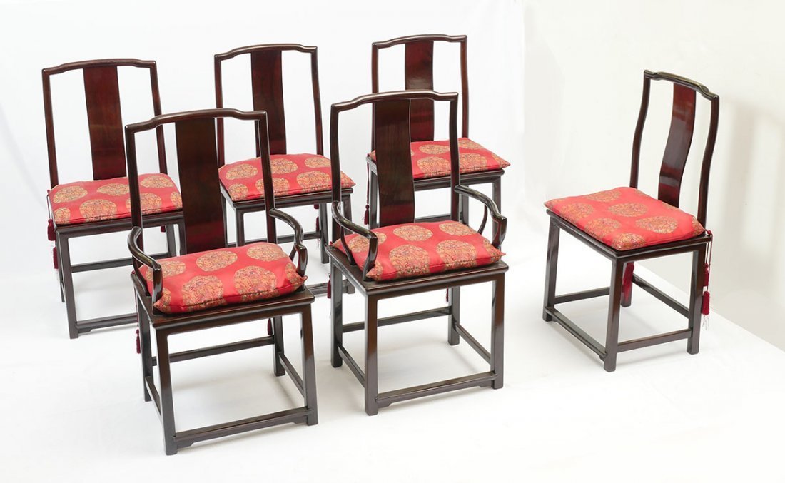 6 CHINESE ROSEWOOD DINING CHAIRS