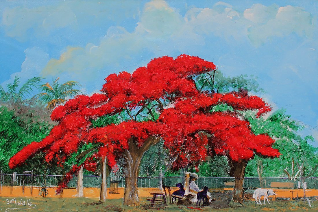 WELLS POINCIANA PAINTING FLORIDA HIGHWAYMEN