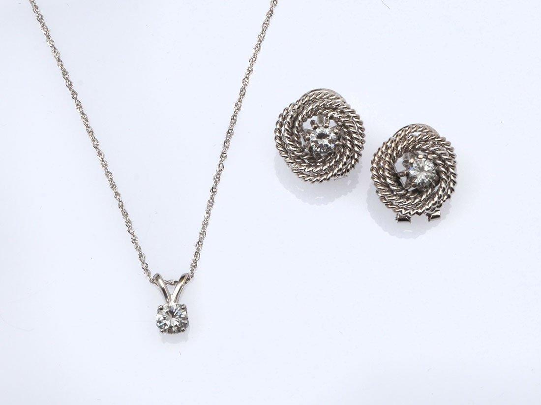 14K 1.00 CTW DIAMOND EARRINGS & NECKLACE