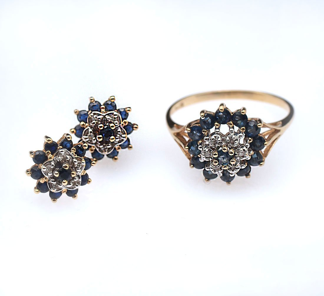 10K SAPPHIRE & DIAMOND EARRINGS & RING