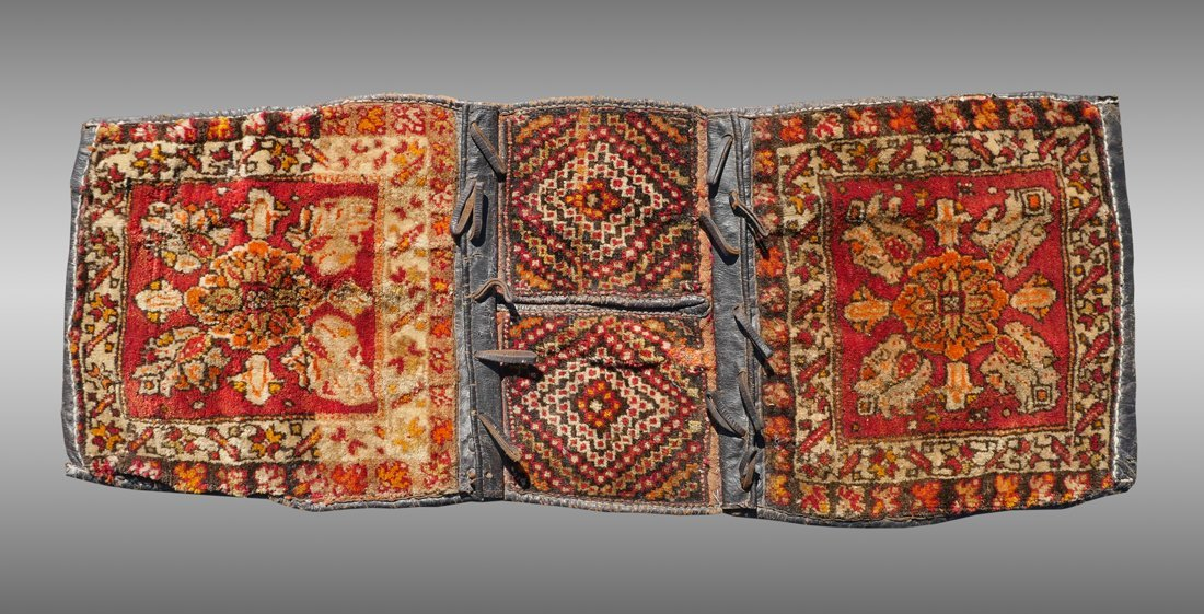 SEMI-ANTIQUE PERSIAN DOUBLE SADDLE BAG LEATHER RUG