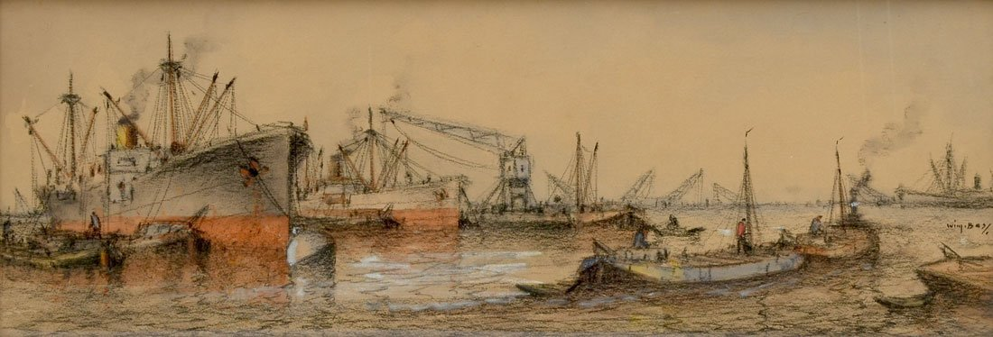 ILLEGIBLY SIGNED INDUSTRIAL HARBOR SCENE DRAWING