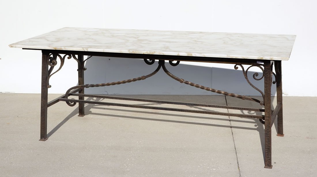 HAND-CRAFTED & FORGED BRUTALIST STEEL MARBLE TOP TABLE
