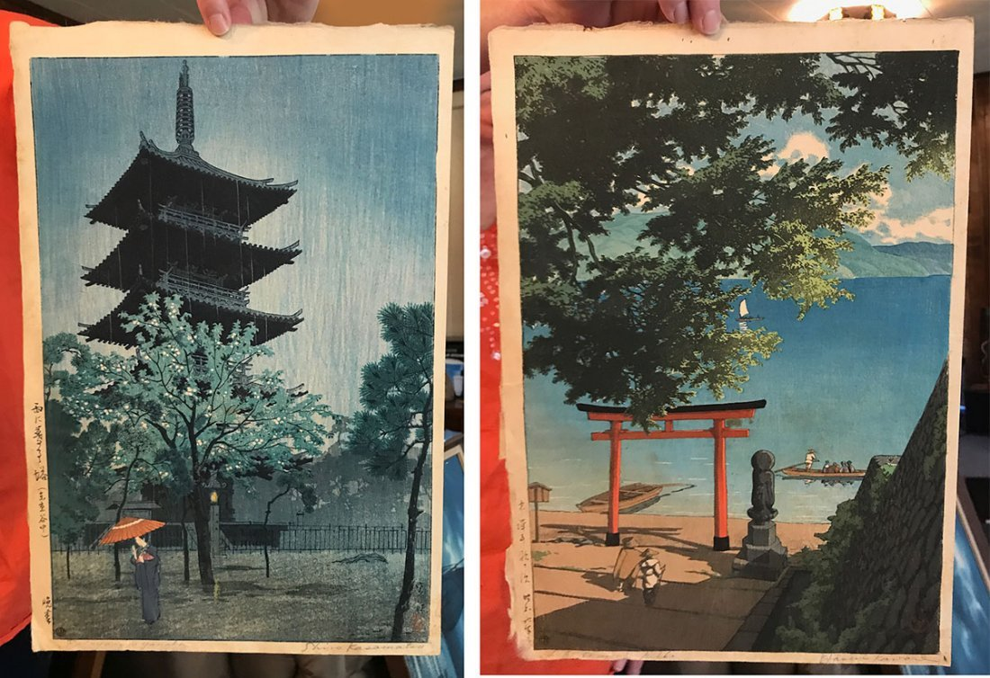 "TWO JAPANESE WOODBLOCK PRINTS: ""KASAMATSU"" AND ""KAWASE"""