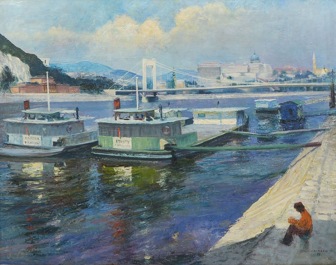 ILLEGIBLY SIGNED DANUBE PAINTING
