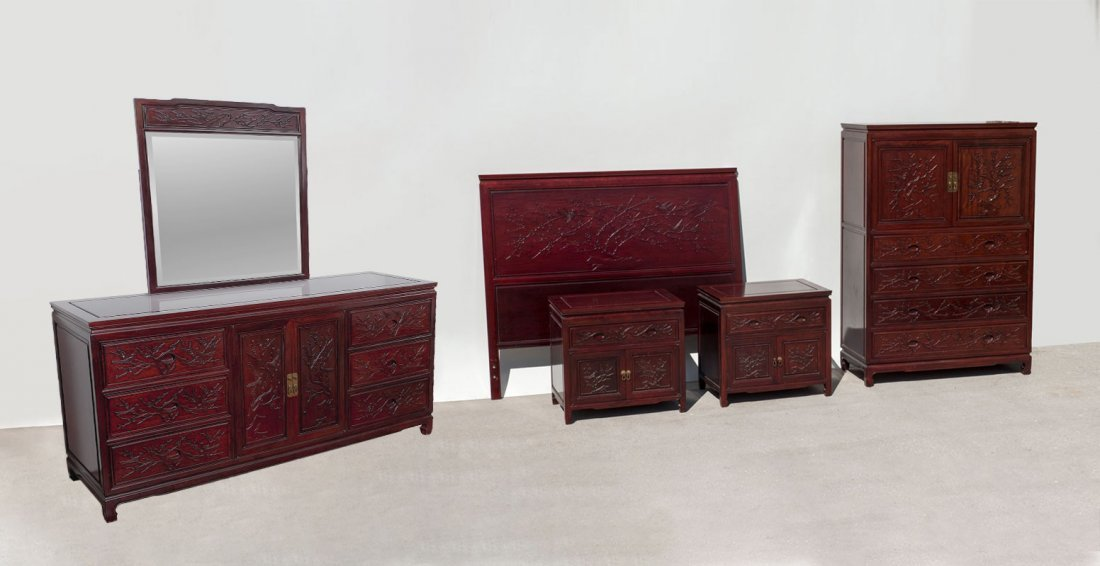 CARVED CHINESE 5-PIECE ROSEWOOD BEDROOM SUITE