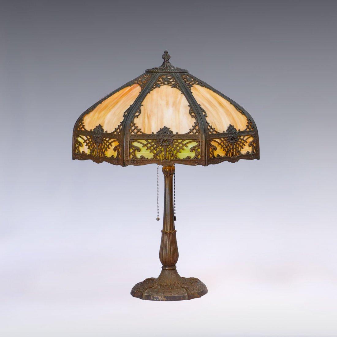 MILLER SLAG GLASS FILIGREE LAMP