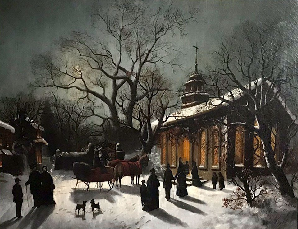 19TH CENTURY NOCTURNAL PAINTING FIGURES AND CHURCH