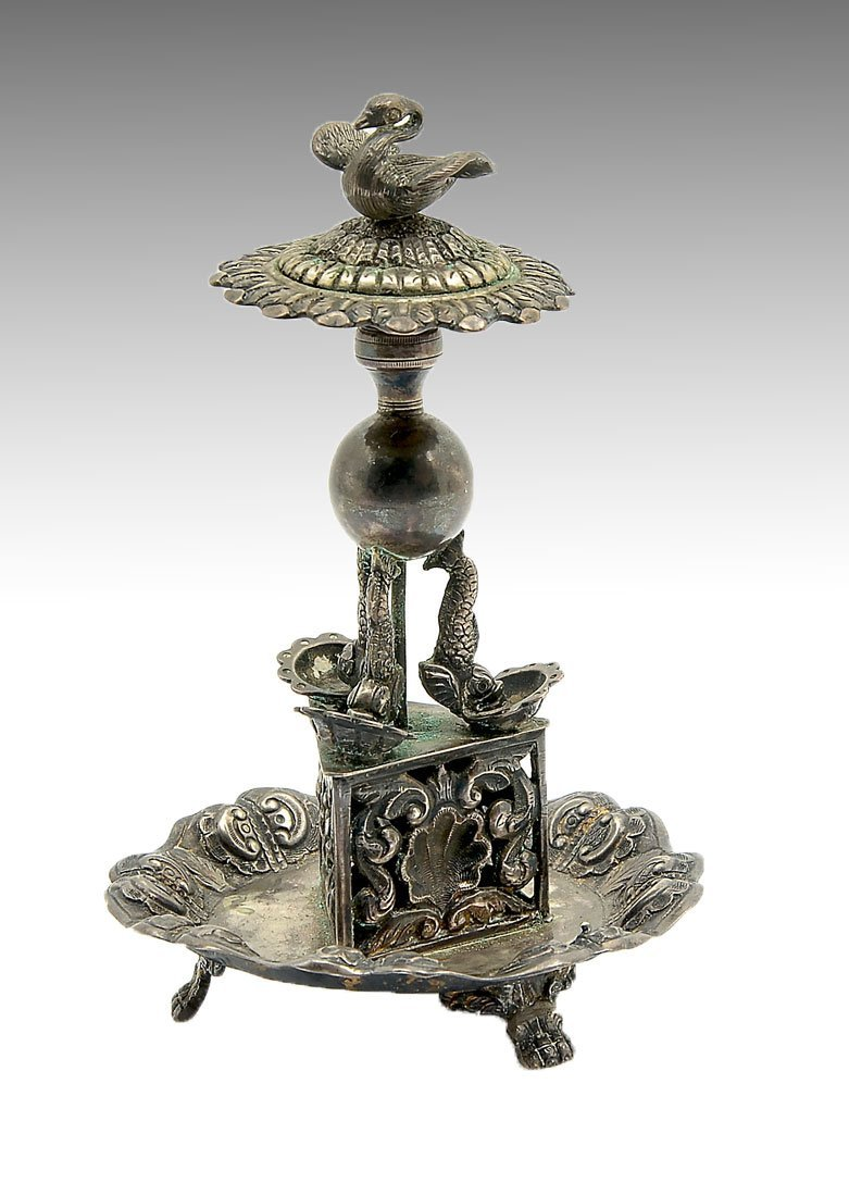 19TH CENTURY VILLACA PORTUGUESE SILVER TOOTHPICK HOLDER