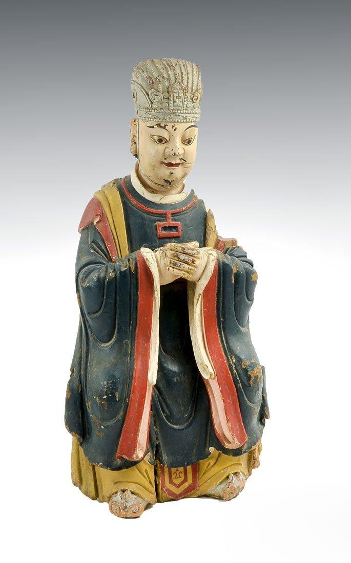 CARVED WOOD & POLYCHROME SHINTO GOD OF MERCHANTS
