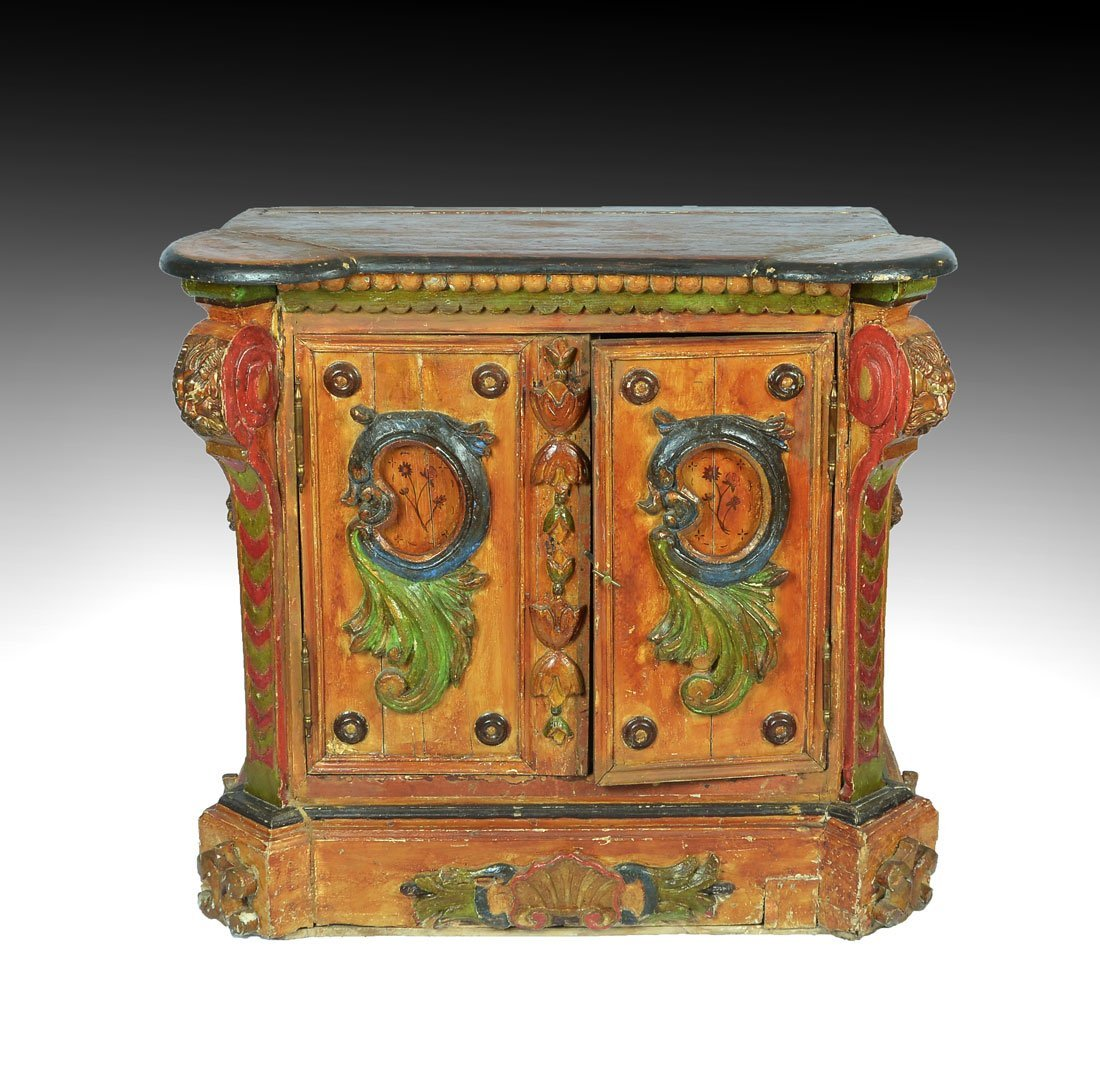 SPANISH COLONIAL REVIVAL STYLE PAINTED COMMODE