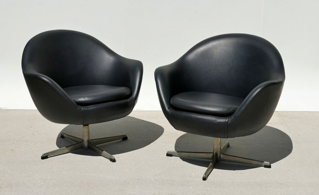 PAIR BLACK VINYL OVERMAN SWEDISH MODERN SWIVEL CHAIRS