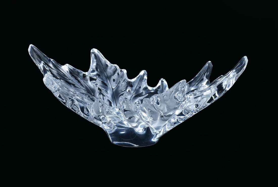LALIQUE CHAMPS-ELYSEES LEAF FORM CRYSTAL BOWL