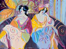 LARGE MAIMON PAINTING TWO YOUNG FEMALES